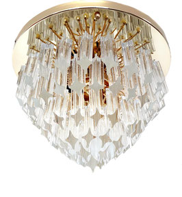 Venini Flush-Mount crystal prism and Golden-Plated 24krt, 1980s