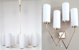 Set of Kaiser Leuchten eight-arm chandelier + four-flame wall lamp in polished brass and white enamel, W.Germany, 1950s