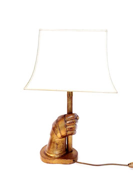 Sculptural italian Wood Hand Carved Warrior Hand lamp, 1940s
