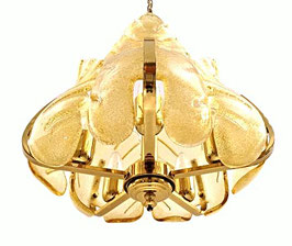 CARL FAGERLUND Amber Frost Ice-Glass Chandelier for ORREFORS, 1950s