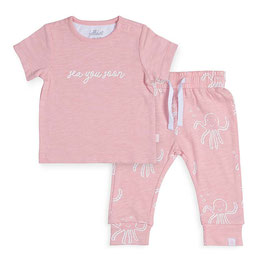 Jollein Broekje & T-shirt Octopus Pink