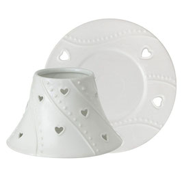 White Heart Large Shade & Tray Set