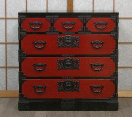 岩谷堂箪笥 三尺赤黒整理箪笥上三つ割