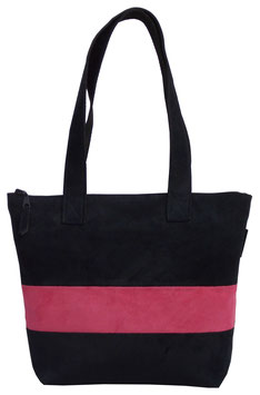 Sac bicolor en alcantara rose et noir