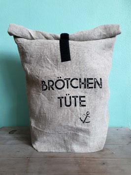 Brötchentüte / Nachhaltiger Einkaufsbeutel für Brot, Leinen taupe