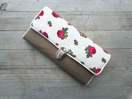 Portemonnaie Vintage Blumen Rosen braun creme pink grün vegan