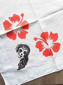 Vintage Stofftaschentuch Blumenmädchen Calavera Skull Hibiskusblüten