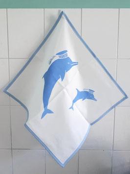 Geschirrtuch weiß Delfin Siebdruck hellblau