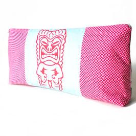 -35 % Kulturtasche Tiki Materialmix hellblau pink Hawaii