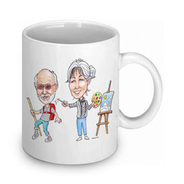 Tasse mit Karikatur farbig oder s/w