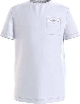 Tommy hilfiger essential Bio-Baumwoll-T-Shirt mit Tasche in weiß