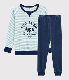 Petit Bateau Samt-Pyjama mit Yeti-Motiv für kleine Jungen