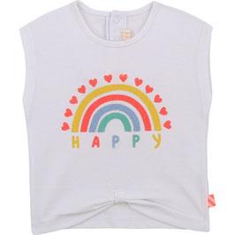 """Weißes T-Shirt """"HAPPY"""" von Billieblush mit Druckknöpfen & Print auf der Vorderseite"""