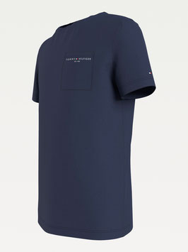 Tommy hilfiger essential Bio-Baumwoll-T-Shirt mit Tasche in Twilight Navy