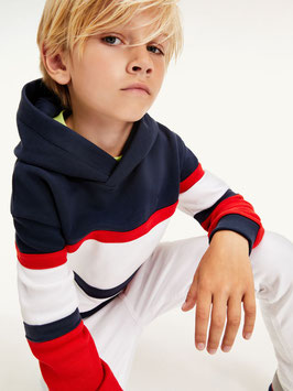 Tommy hilfiger color Block-Hoodie aus Bio-Baumwolle in twilight navy / deep crimson