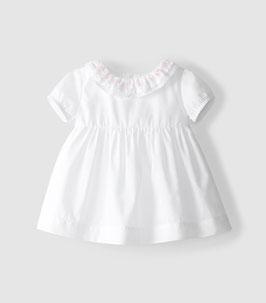Tolles Laranjinja Kleid in weiss  mit gerafftem Pierrotkragen mit rosa  Lochstickerei