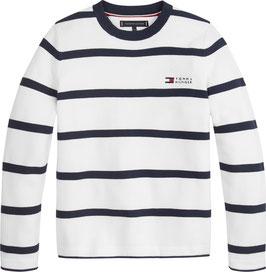 Gestreifter Baumwoll-Pullover von Tommy Hilfiger in Blue Stripe
