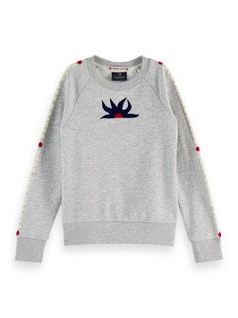 Scotch R´ bell Langärmliges Logo-Sweatshirt aus Baumwollmischung in Grey Melange