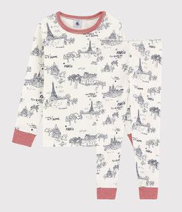 Petit Bateau Pyjama aus Baumwolle mit Paris-Motiv im Toile-de-Jouy-Stil für Jungen