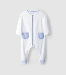 Laranjinha Baby-Strampler ohne Kragen in Blue Star