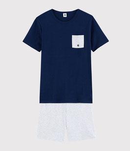 Petit Bateau Unisex einfarbiger Kurzpyjama aus Rippstrick, aufgesetzte Brusttasche.