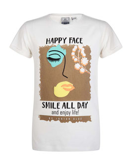 Happy Face T-Shirt in Off-White von Indian Blue Jeans