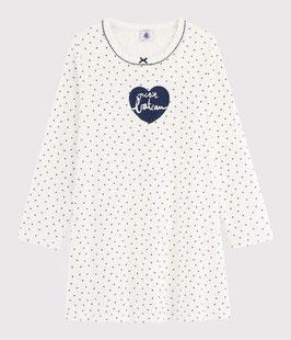 Petit Bateau Rippstrick-Nachthemd mit Mini-Herzchen für kleine Mädchen
