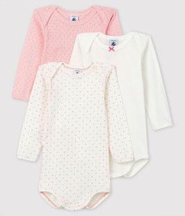 3er-Set langärmeliger, rosafarbener Baby-Bodys für Mädchen von Petit Bateau