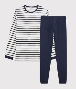 Petit Bateau Rippstrick-Pyjama im Marinelook für Kinder in Weiss Marshmallow / blau Smoking