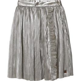 Silberfarbener Plisseerock von Carrement Beau mit seitlicher Reißverschluss und Rüschen