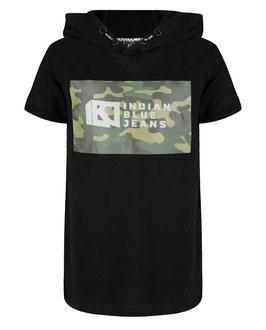 Kurzarm Hoodie in Schwarz mit grauen Camouflage Druck von Indian Blue Jeans