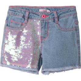 Blaue Jeansshorts von Billieblush mit ausgefranster Saum & Pailletten