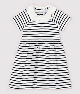 Kurzärmeliges gestreiftes Babykleid aus Rippstrick für Mädchen von Petit Bateau in weiss Marshmallow / blau Smoking