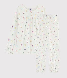 Rippstrick-Pyjama mit Vogel-Print für kleine Mädchen von Petit Bateau