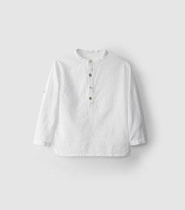 Festliches Laranjinha Jungen Hemd mit Stehkragen in weiß