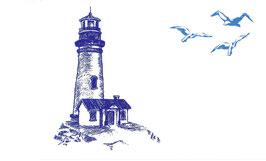 Postkarte Leuchturm mit Möwen