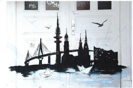 Postkarte Streetart Hamburg Skyline