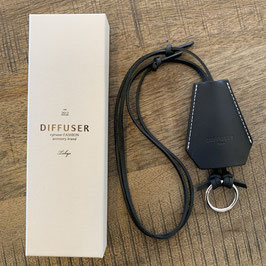 CLOCHETTE GLASS HOLDER - Italienisches schwarzes Leder / Silber platinierter Ring