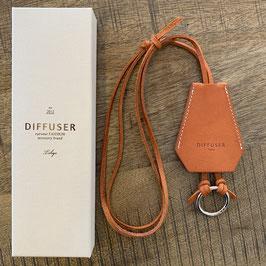 CLOCHETTE GLASS HOLDER - Italienisches orangebraun Leder / Silber platinierter Ring