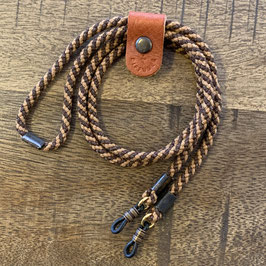 ADJUSTABLE LENGTH GLASS CORD - Acrylfaser light brown/dark brown - Italienisches Leder in orange
