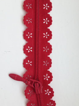 Reißverschluss in Spitzenoptik - Rot