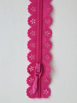 Reißverschluss in Spitzenoptik - Pink