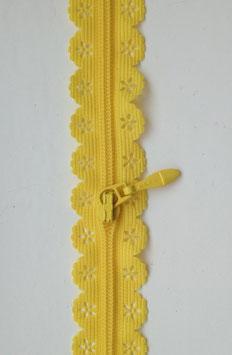 Reißverschluss in Spitzenoptik - Gelb