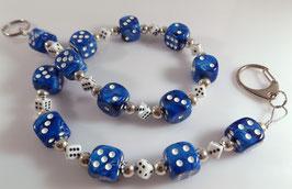 Marmor-blau/weiß Würfel Hosenkette