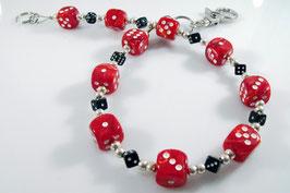 Marmor rot/schwarz Würfel Hosenkette