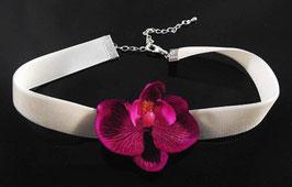 Samt Halsband mit Stoff Orchidee