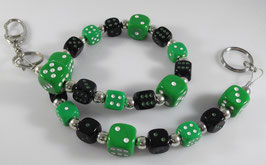 Würfel Hosenkette - grün/schwarz -