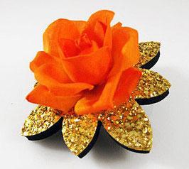 Glitzer Haarspange mit Blüte - UNIKAT