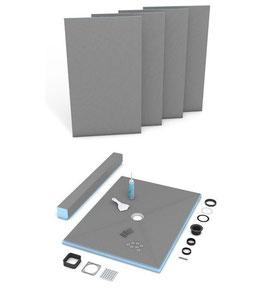 "36x72"" Wedi Center Drain Shower Kit"