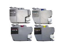 4x wiederbefüllte Originalpatronen kompatibel mit Brother LC3217